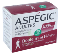 ASPEGIC ADULTES 1000 mg, poudre pour solution buvable en sachet-dose 30