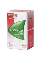 Nicorette 2 mg Gomme à mâcher médicamenteuse sans sucre fruits Plq/105