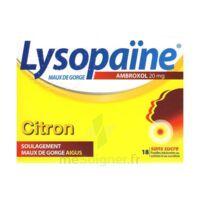 LYSOPAÏNE AMBROXOL 20 mg Pastilles maux de gorge sans sucre citron Plq/18