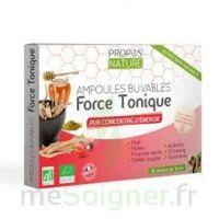 Propos'Nature Force Tonique : Propolis, ginseng, pollen, acérola, guarana, miel, gelée royale 10 ampoules/10ml
